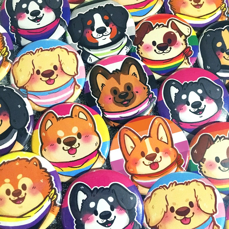 Pride Puppies Buttons 1.5 in  Cute Dogs Pride Flag Pinback image 0