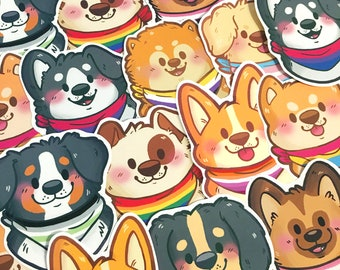 Pride Puppies Stickers   LGBT   Waterproof Pride Flag Diecut Dogs Sticker Set   Cute LGBTQIA Puppy Decals   LGBTQ