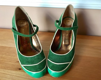 Retro Max Monelli green suede leather Mary Jane heels Made in Italy