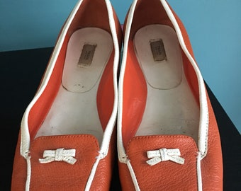Vintage Prada orange and white leather flats