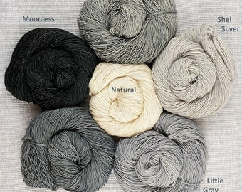 All the grays - tonal hand dyed yarn - superwash wool fingering sock weight - 115 grams