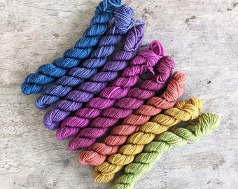 The Alchemist's Rainbow mini skein set of 8 - blue purple pink red orange yellow green tonal hand dyed yarn - 15g each - dyed to order