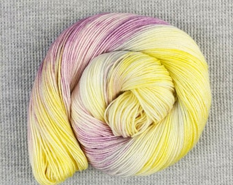 Clever Trick - light yellow purple pink gray variegated hand dyed yarn - fingering weight - ready to ship - Frankie collection