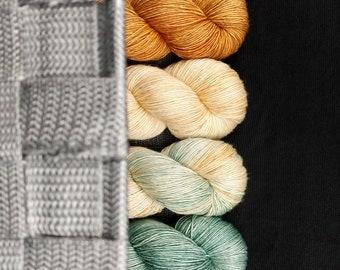 Graceling series - Lienid, Raffin, Great Seas, Monseas - green gold cream hand dyed tonal yarn - fingering sock - dyed to order