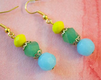 Yellow Green Blue Bead Dangle Earrings | Elegant Earrings | Gifts for Her | Summer Spring Vacation Resort Chic Jewelry  | Statement | Party