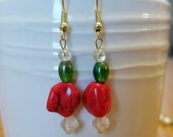 Christmas earrings with red stone accent