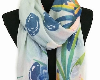 Turquoise Blue Self Embossed Floral Scarf Stole Sarong Shawl Hijab Head Scarves