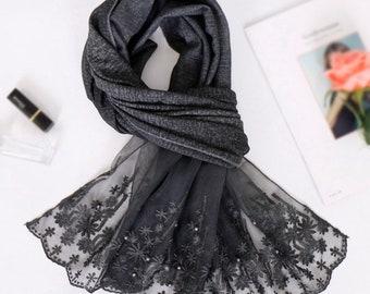 NEW Silk Scarf Womens Eid Christmas Gift Wrap Birthday Hijab Monochrome Ripple