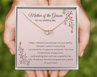 Heart Necklace | Mother of the Groom gift | Mother-in-law Jewelry Gift | Wedding Party gifts | Personalized Jewelry Gift