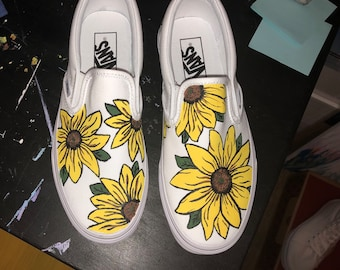 a21b3eb92fb326 Hand painted Sunflower vans - slip ons
