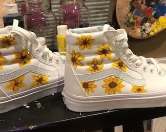 b71b177af69 High top handpainted sunflower vans