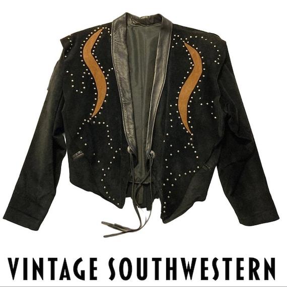 VTG Southwestern Leather Suede Fringe Jacket Black
