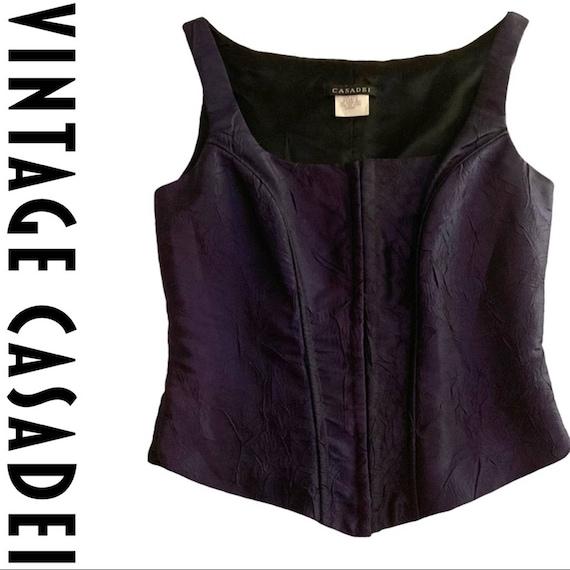 Casadei Corset Top Midnight Purple VTG 90s Goth
