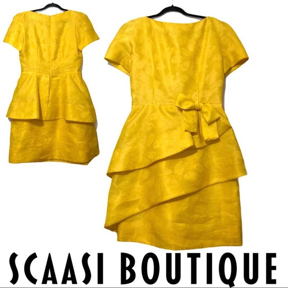 Arnold Scaasi Boutique Vintage 1980s Yellow Dress
