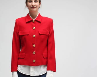 VERSUS by Gianni Versace - first 90s - iconic jacket    brilliant red     metallic puma original buttons    made in italy c593c7892fd8