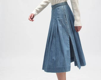 VINTAGE 70's JEANS midi poodle skirt - slit skirt - light blue wash