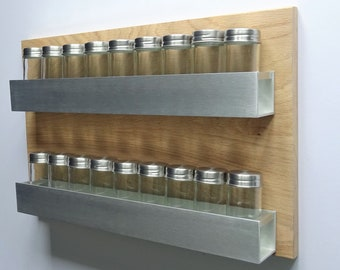 Aluminium And Oak Double Spice Rack Kit | Various Sizes And Finishes | Hand  Made | Modern | Contemporary | Floating Spice Rack Kit