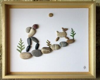 Pebble Art - Gift for Backpacker - Gift for Hiker - Animal Lover Gift - Hiker and dog - Custom Wall Art from France -28x34 cm (11x13 in)