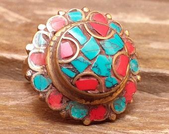 mothers day, Romantic Ring, Vintage Ring, Gemstone Ring, Turquoise, Coral, Ancient Ring, Ethnic Ring, Tibetan Ring, Rough Gemstone Ring