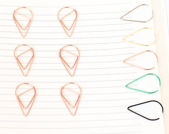 10 Rose Gold Paper Clips | Teardrop Paperclips | Planner Journal Scrapbook Paper Clasp | Folder Accessories School Office Stationery Supply