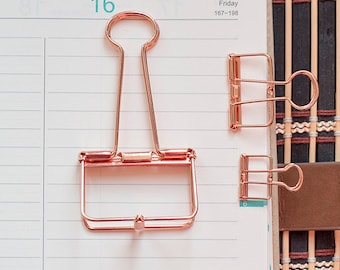 2 Rose Gold Skeleton Binder Clips |Hollow Out Long Tail Clip | Planner Clips | Journal Clips | Notebook Clips | Skeleton clips | stationery