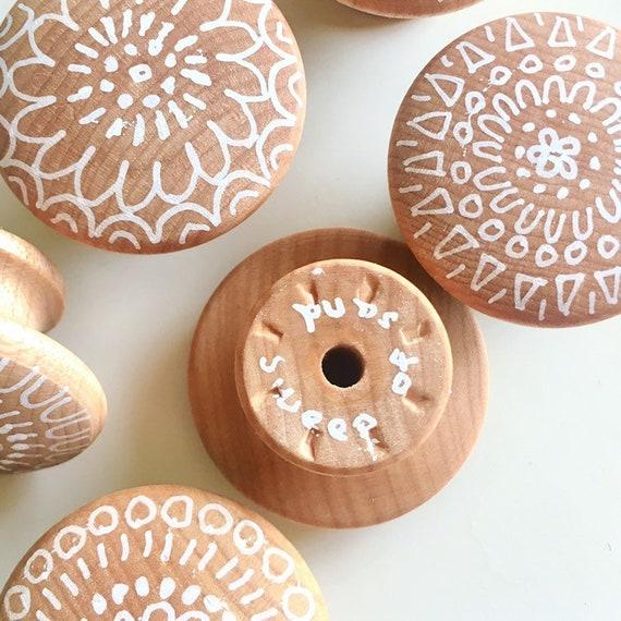 Drawer Pulls Custom Knobs Boho Hand, Hand Painted Wood Cabinet Knobs