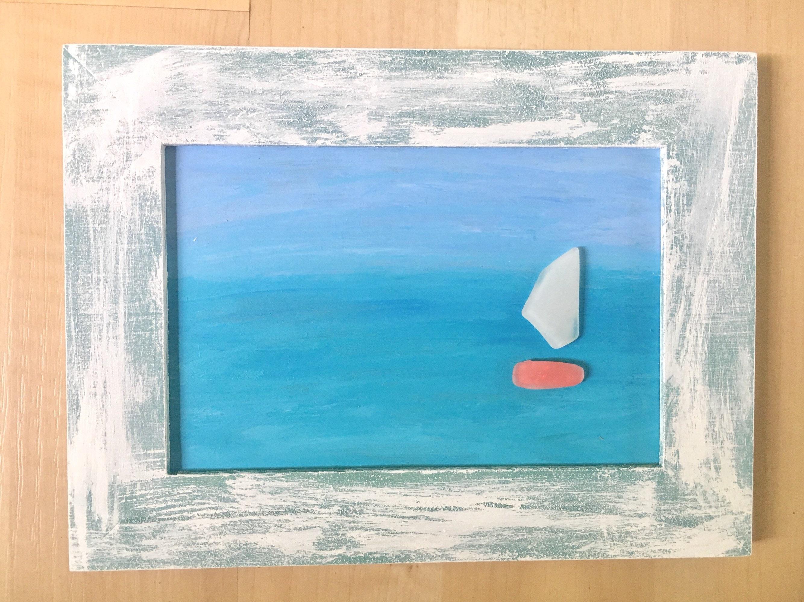 Meer Glas Kunst abstrakte Kunst Segelboot auf Ombre Gemälde | Etsy