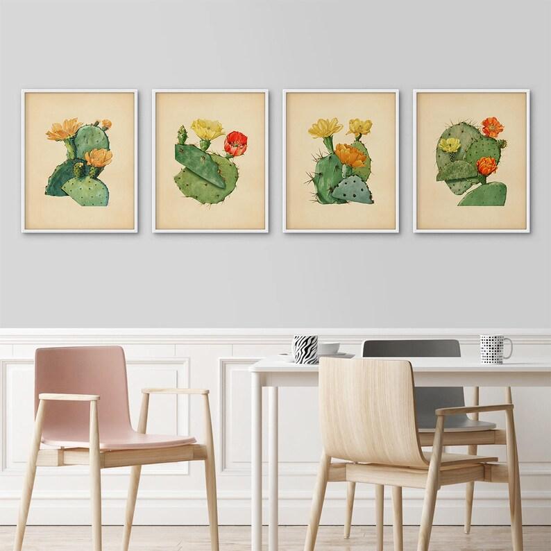 Kaktus Drukuje Zestaw 4 Botaniczny Wydruku Druku Ustawić Kaktus Plakaty Duże Wydruki Kaktus Na ścianę Antyczny Botaniczny Botaniczny Vintage