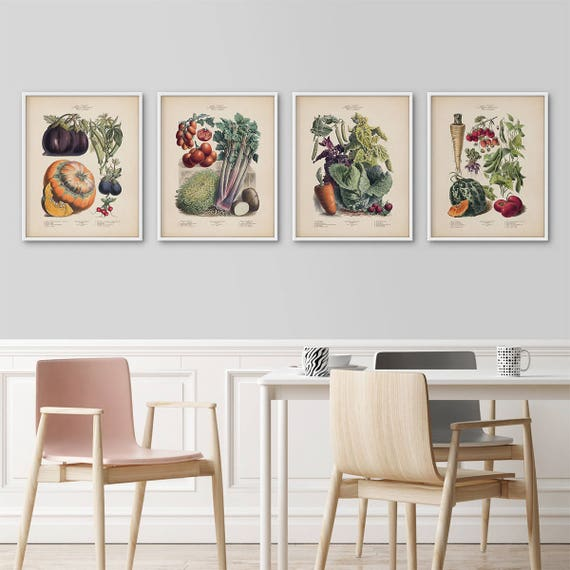 Framed Botanical Prints Set French Vegetables Kitchen Art