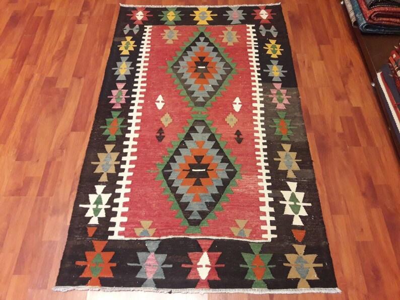 Kilim Rug Kelim Rugs Wool Rug,Natural Rug Vintage Turkish Area Kilim Rug,5.1\u00d72.9fet Anatolian Kilim,150\u00d791 cm Handmade Rug