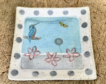 Breakfast board/plate with kingfisher and butterfly