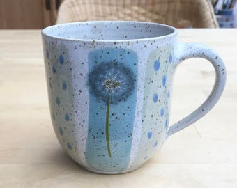 Coffee mug Hand pottery-puff flowers