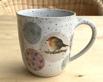 Ceramic cup robin, great and dompfaff