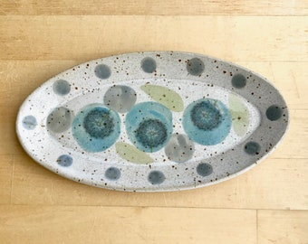 Serving plate-small tray, pottery, handmade, with dandelions