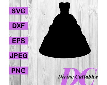 abd647a1f8 Wedding Dress Princess Prom Silhouette Clipart Digital Cut File Design  Decal Stencil Template Vector Svg
