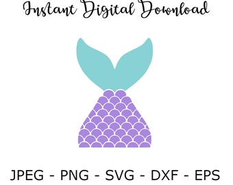 Mermaid Tail Fin Mystical SVG DXF Png Vector Cut File Cricut Design Silhouette Vinyl Decal Stencil Template Heat Transfer Iron On