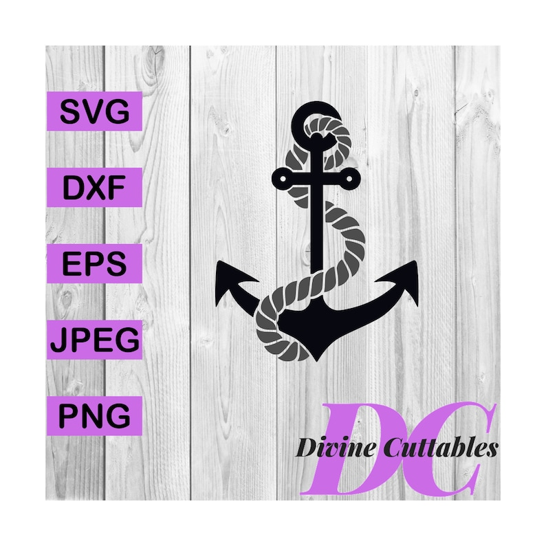 Buy 3 Get 1 Free Anchor With Rope Silhouette Clipart Digital Etsy