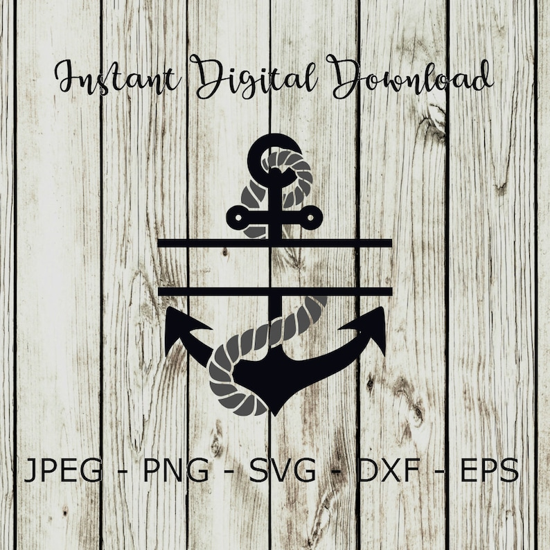 Buy 3 Get 1 Free Anchor With Rope Split Monogram Clipart Etsy