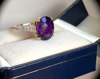 Amethyst Stone Solid 925 Sterling Silver Band Ring Meditation Ring Size L V717 Gemstone