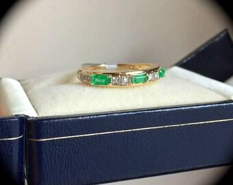 Columbian Emerald and Diamond Ring Yellow Gold Size N 1/2 (US 7)  'Certified'  Beautiful Ring