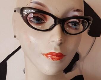 Original 1950s Cats Eye Glasses.  Pearlised Black Cats Eye 1950s Glasses.   Vintage Cats Eye Glasses.  1950s Cats Eye Pearlised Glasses