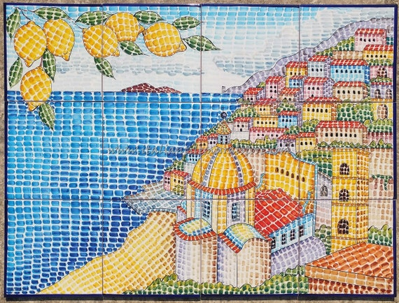 Tile Mural Hand Painted Mosaic Tile Murals Customizeable For Etsy