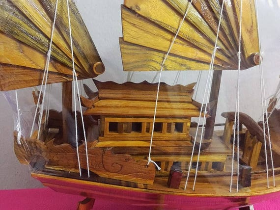1. Wooden Ship Model Boat. Made of teak wood. Handmade from. Temple in  Thailand 20\