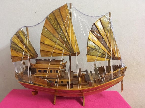 1. Wooden Ship Model Boat. Made of teak wood .Handmade from. Temple in  Thailand 40\
