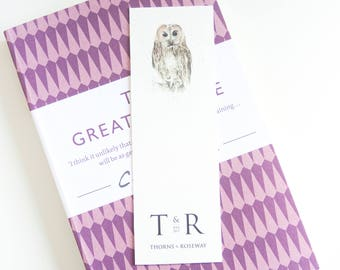 Tawny Owl Bookmark | Watercolour Bookmark | Owl Bookmark