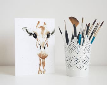 Watercolour Giraffe Greetings Card | Giraffe Card | Greetings Card | Birthday Card | Blank Card