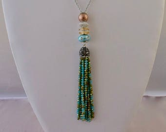 Blue Turquoise Tassel Necklace. Sterling Silver CZ Pave Beads Lariat Necklace