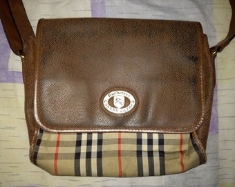 BURBERRYS  Brown Checkered VINTAGE Leather Canvas Crossbody Shoulder Handbag 75d5d575134d3