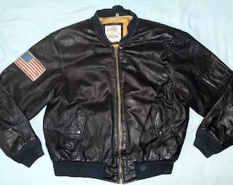 12a9c2b68 Vintage Michael Hoban WhereMI MA-1 USA Marine Corps 1991 Leather Bomber  Jacket