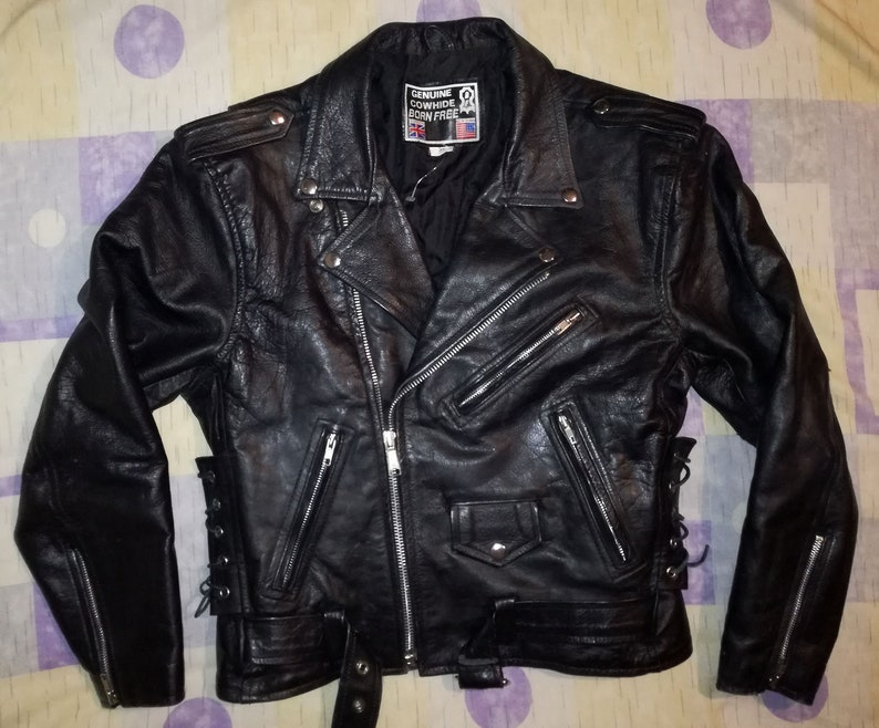 c4d90506a BORN FREE D-pocket Motorcycle Biker Rocker Side Laced Black Cowhide Leather  Jacket, US size 38 / S